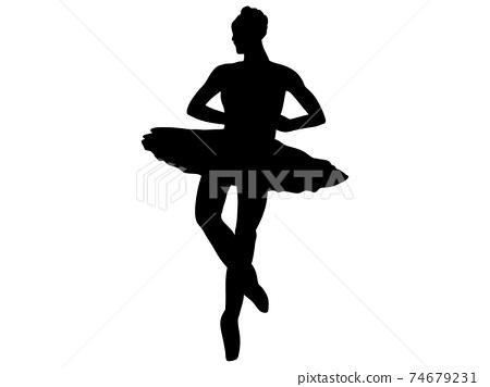 旋轉芭蕾舞演員的剪影 74679231