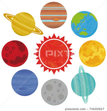 太陽系行星的插圖太陽和水,金,火,木頭,地球和海洋,手寫的樣式 74680667
