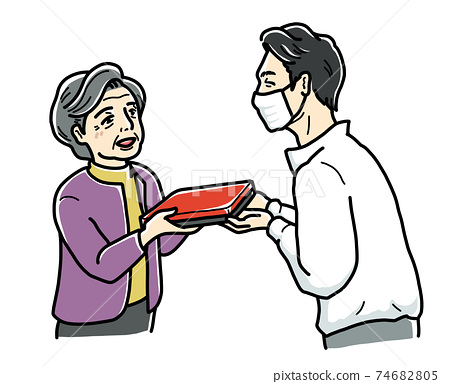 Deliveryman handing over a delivery lunch 74682805