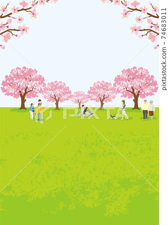 꽃놀이를 즐기는 사람들 만개 한 벚꽃 수직 A4 비율 74683011