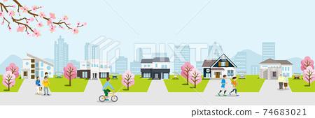봄의 주택가 벚꽃의 가지와 벚꽃 나무가있는 가로 74683021