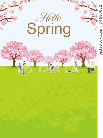 """꽃놀이를 즐기는 사람들 만개 한 벚꽃 수직 A4 비율 식별자가있는 """"Hello Spring"""" 74683022"""