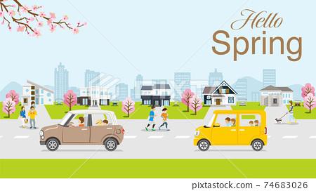 """봄의 주택가 벚꽃의 가지와 벚꽃 나무 첨자있는 """"Hello Spring"""" 74683026"""