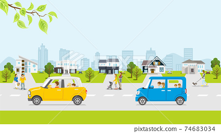 Spring residential area, fresh green car, with people 74683034