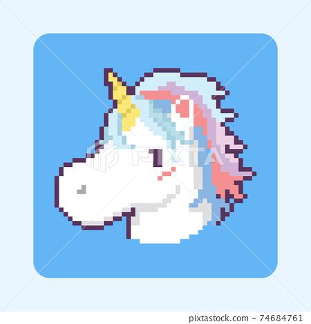 Pixel art cartoon unicorn head icon design. 74684761