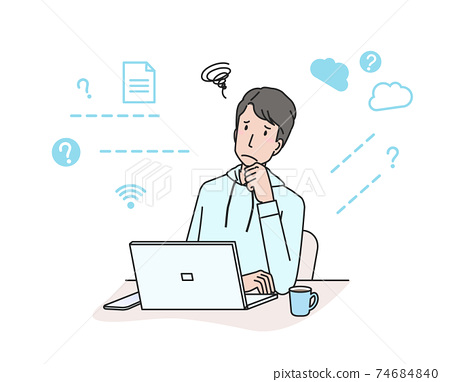 컴퓨터 앞에서 고민하는 젊은 남성 (재택 근무) 74684840