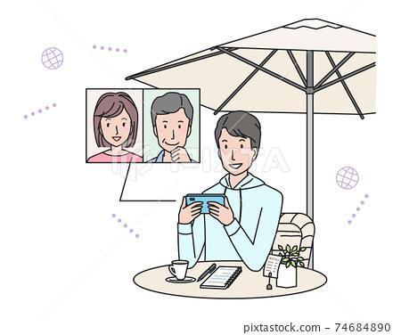 年輕人在一家咖啡館(電話)開在線會議 74684890