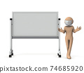 A person giving a presentation using a whiteboard. Wear a mask. White background. 74685920