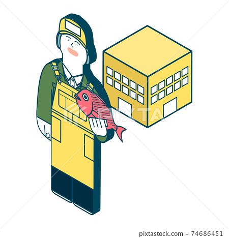 工作woman_fish市場的插圖 74686451