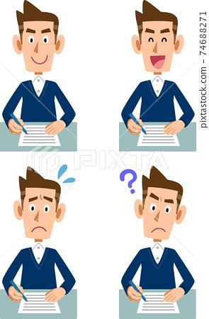 男子填寫文件的各種面部表情 74688271