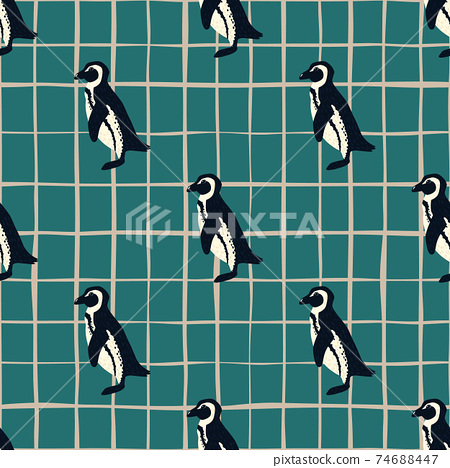 Decorative zoo seamless doodle pattern with simple penguins ornament. Turquoise chequered background. 74688447