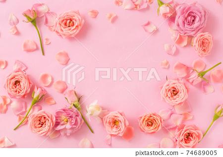 春天的形象粉紅玫瑰背景框架 74689005