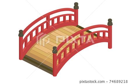 紅色拱橋(等距,等距)的矢量圖 74689218