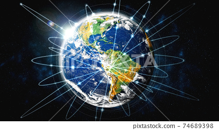 Global network connection covering the earth with lines of innovative perception 74689398
