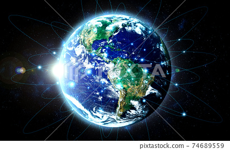 Global network connection covering the earth with lines of innovative perception 74689559