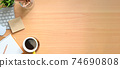Simple Top view wood table - Creative flat lay office desk. Laptop, notebooks and coffee cup on white background. Panorama banner background with copy space.. 74690808