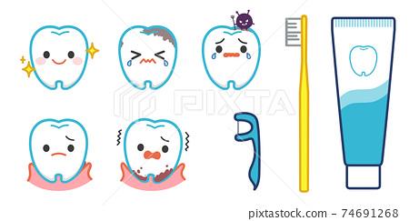 牙齒字符插圖集 74691268