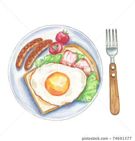 西式早餐[手繪水彩] 74691377