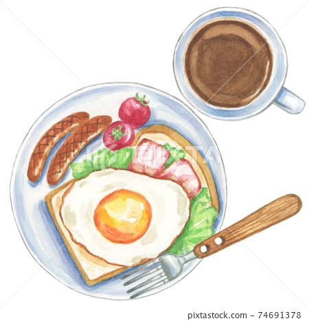 서양식 아침 커피 포함 [그린 수채화] 74691378