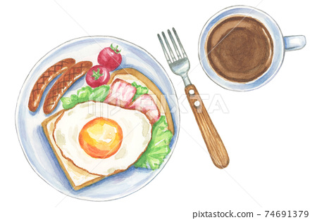 西式咖啡早餐[手繪水彩] 74691379