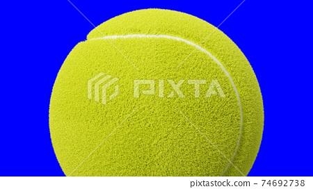 Tennis ball on blue chroma key. 74692738