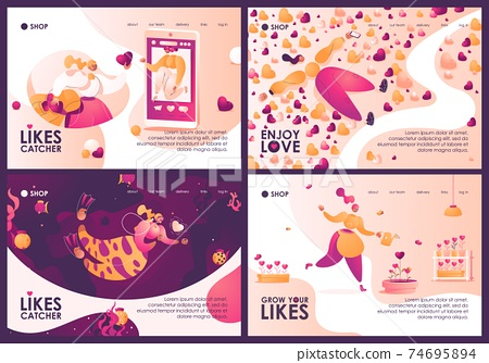 Concept banners collection about growing and finding likes and love, social acceptance and media popularity in pink and yellow. Landing page templates with women characters and hearts 74695894