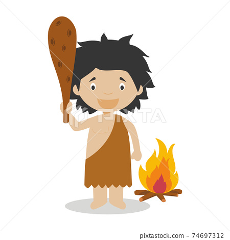 Prehistory cartoon character. Vector Illustration. Kids History Collection. 74697312