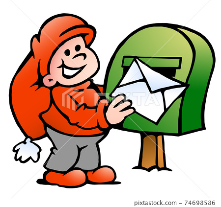 Vector Cartoon illustration of an happy Elf posting a Letter 74698586