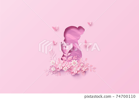 International Women's Day 8 march with frame of flower and leaves 74700110