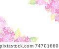 수채화로 그린 수국 그림 프레임 74701660