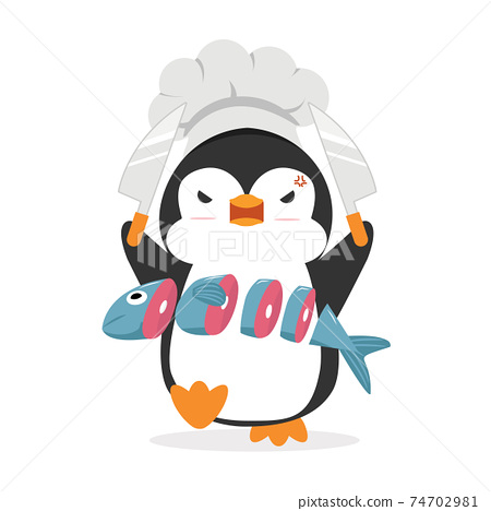 Penguin Cook Chef with fish 74702981