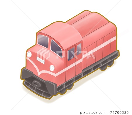 Vintage red locomotive, a digital painting of Taiwan classic railway train at Alishan forest railway route isometric cartoon icon raster 3D illustration on white background. 74706386