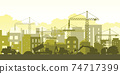Silhouette of building work process with construction machines. 74717399