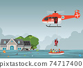 Rescue team with rescue helicopter and boat rescue in mission rescue at sea or flood. 74717400