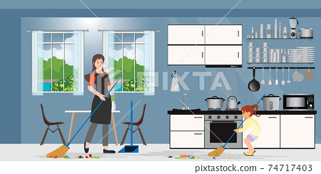 Family cleaning kitchen. 74717403