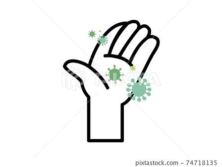 一隻手帶病毒的插圖 74718135