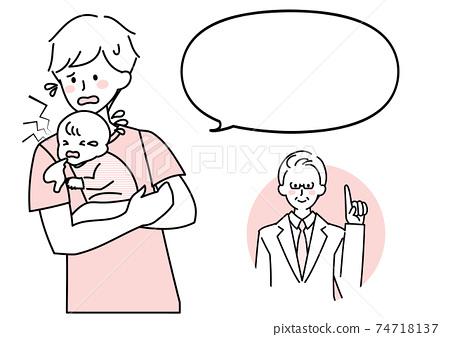 아기의 컨디션 불량으로 당황 아버지와 의사의 설명 74718137