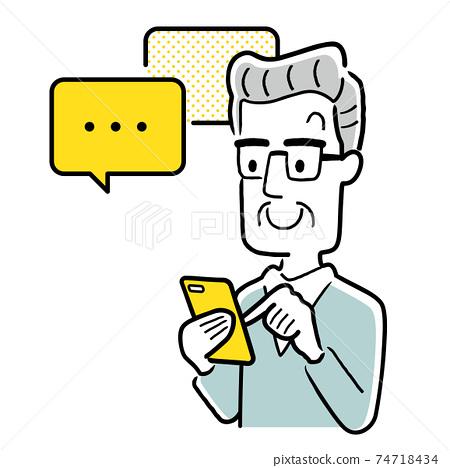 矢量圖材料:老人在智能手機上交換消息 74718434