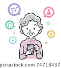Vector illustration material: Senior woman using smartphone app 74718437