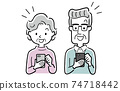 Vector illustration material: Senior men and women using smartphones 74718442