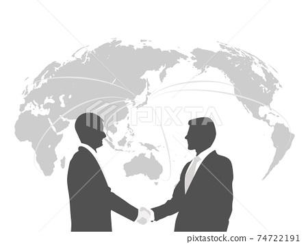 商業形象建立商人握手世界地圖 74722191