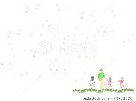 수채화로 그린 벚꽃 눈보라와 아이와 어머니 원경 74723376