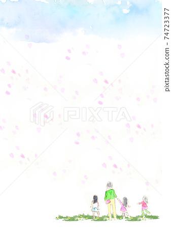 수채화로 그린 벚꽃 눈보라와 아이와 어머니 원경 74723377
