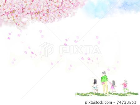 수채화의 투명감이있는 푸른 하늘과 만개 벚꽃 나무 아래 꽃 보라 속 아이들과 어머니 원경 (가로) 74723853