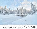 frozen river. snowy beautiful winter 74728583