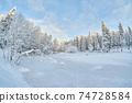 frozen river. snowy beautiful winter 74728584