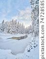frozen river. snowy beautiful winter 74728585