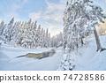 frozen river. snowy beautiful winter 74728586