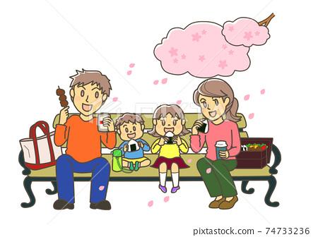 꽃놀이하는 부모 74733236