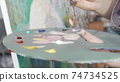 Cropped shot of a palette of a female painter 74734525